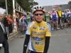 Florence avec son maillot de leader au départ de la Vél\'Automne