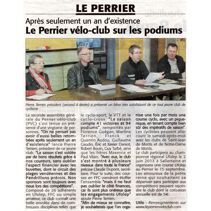 Le Perrier Vélo Club dans le Courrier Vendéen du 20 décembre 2012