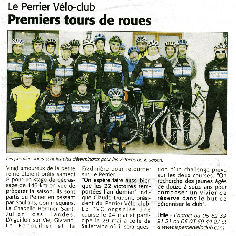 Le Perrier Vélo Club dans le Courrier Vendéen du 20 février 2014
